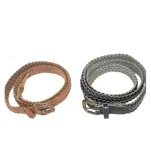 Braided Leather & Faux Leather Belt Men's Women's